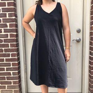 Eileen Fisher Black Simple Classic Midi Dress
